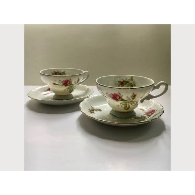 Footed Moss Rose Bone China Tea Cups - Service for 2 For Sale - Image 11 of 12