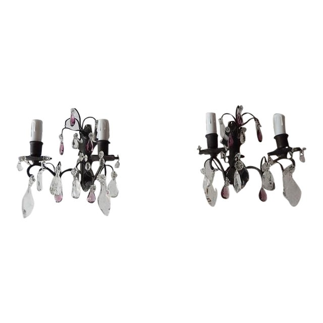 French Burnished Brass Amethyst and Clear Crystal Prisms Sconces For Sale