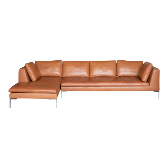 B&b Italia Charles Sectional in Cognac Leather by Antonio Citterio For Sale