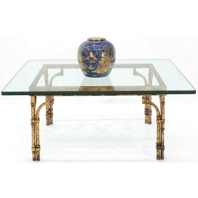 1970s Faux Bamboo Gold Gilt Frame Square Glass Top Coffee Table For Sale - Image 5 of 12
