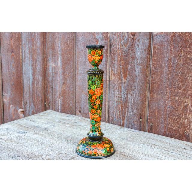 Black Floral Kashmiri Candle Holder For Sale - Image 4 of 6