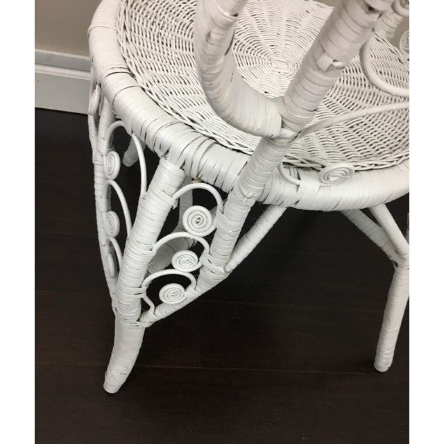 Early 20th Century Antique White Wicker Chair For Sale - Image 9 of 12