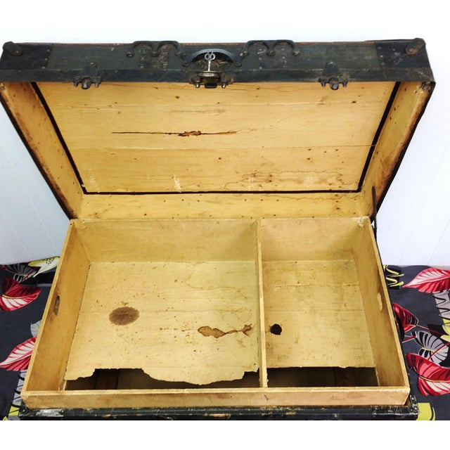 Antique Wood Steamer Trunk with Key - Image 6 of 10