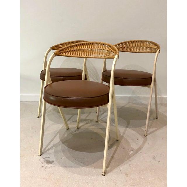 1960s Vintage Arthur Umanoff for Shaver Howard Painted Wrought Iron and Rattan Dining Chairs- Set of 3 For Sale In West Palm - Image 6 of 13