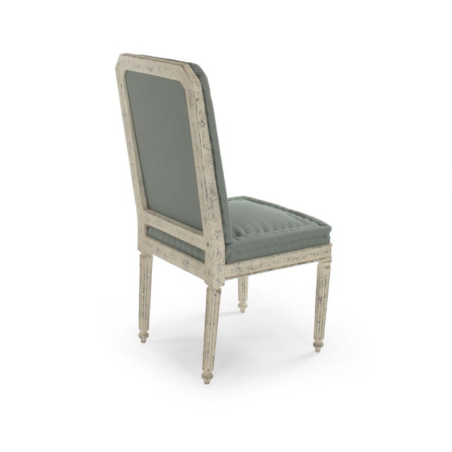 French Country Esplanade Side Chair in Smokey Green For Sale - Image 3 of 5