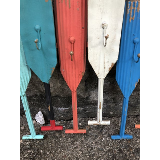 Metal Multi Colored Metal Oar Wall Hooks For Sale - Image 7 of 9