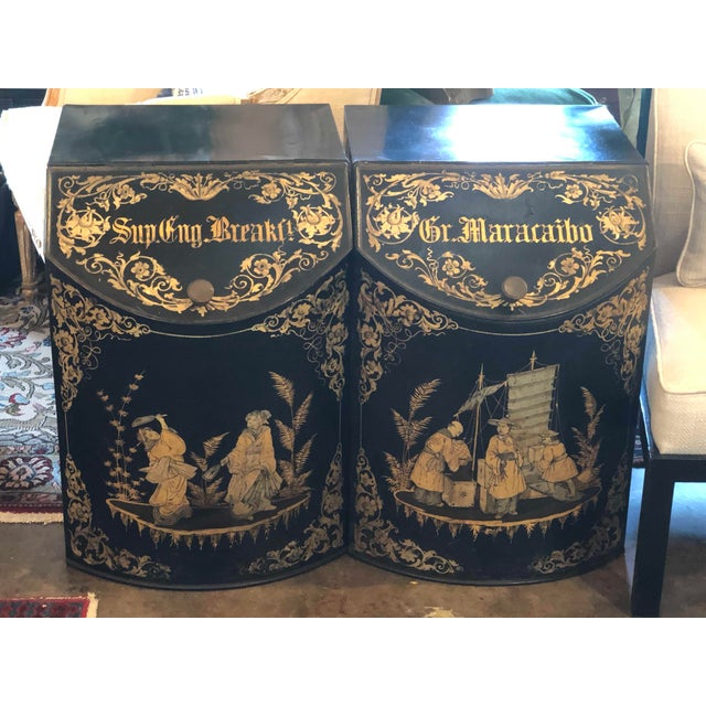 Chinoiserie Tole Tea Canisters - a Pair For Sale - Image 11 of 11