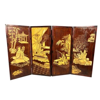 Early 20th Century Antique Handmade Chinoiserie Wooden 4-Panel Folding Coromandel Screen For Sale