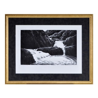 "1998 April Gornik ""Cascading Waterfall"" Etching and Aquatint Print For Sale"