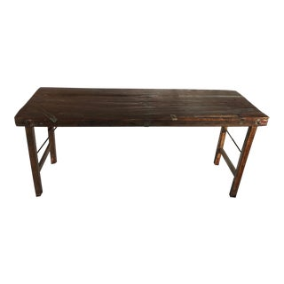 1920s Rustic Teak Wood Market Sofa Table For Sale