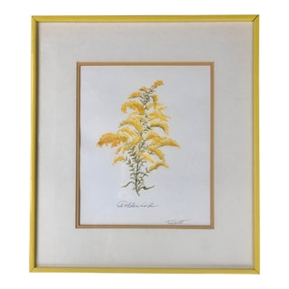 Vintage Floral Goldenrod Gouache Watercolor Painting in a Yellow Frame by Margaret Talbott For Sale