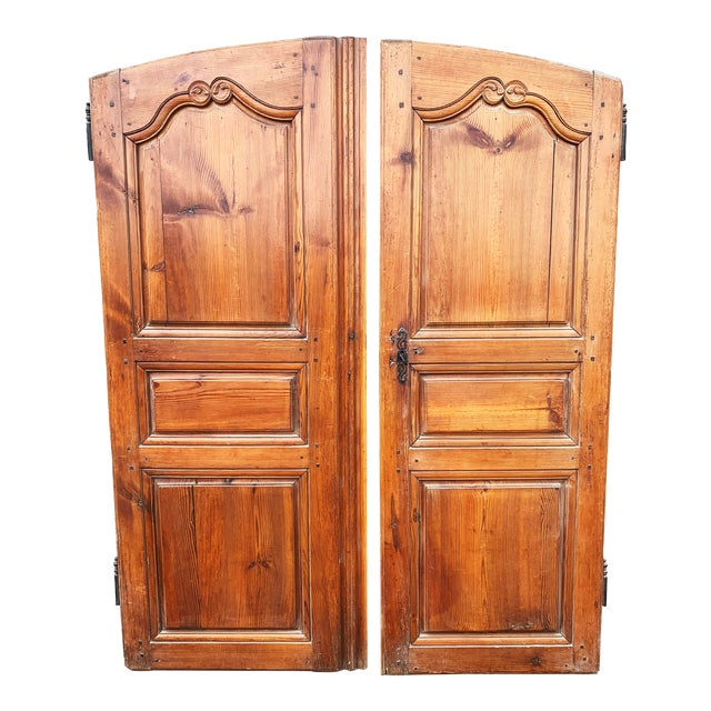 18th C Antique French Walnut Armoire Doors - a Pair For Sale