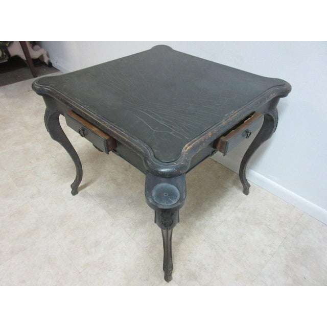 Antique Italian Regency Carved Leather Top Game Table For Sale - Image 9 of 9