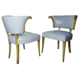 Regency Baby Blue Leather and Horned Arm Bergere Chairs - A Pair For Sale
