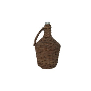 Antique Large Wicker Wrapped Blue Green Glass Bottle Demijohn For Sale
