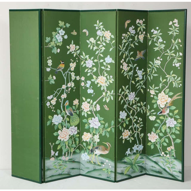 Green Chinoiserie Six-Panel Hand-Decorated Screen For Sale - Image 4 of 11