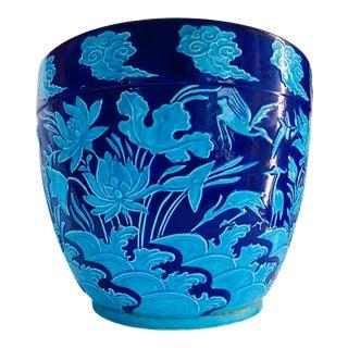19th Century Lotus Flower Majolica Minton Chinoiserie Jardiniere For Sale