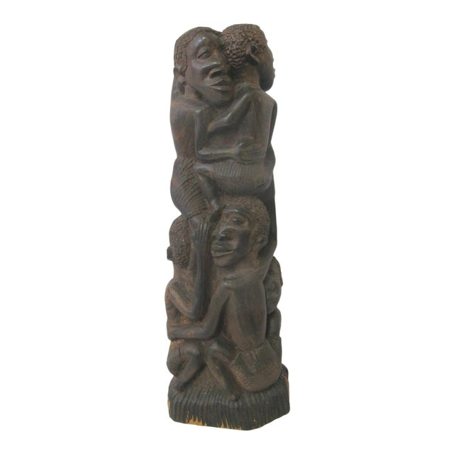 Vintage Makonde Tree of Life Wood Carving Sculpture Signed Amisi For Sale