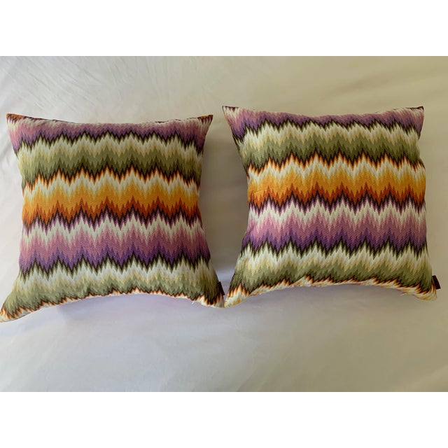 2010s Missoni Home Multicolor Zig Zag Pillows - Pair For Sale - Image 5 of 7