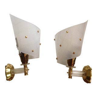 Mid Century Modern Gold Detailed Sconces - a Pair