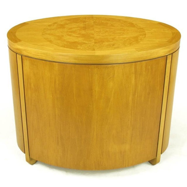 1980s Charles Pfister for Baker Prima Vera Mahogany Three-Drawer Oval Commode For Sale - Image 5 of 10