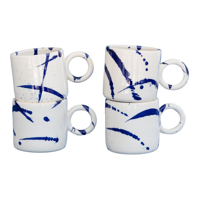 Indigo Splattered Ceramic Circle Mug - Set of 4 For Sale
