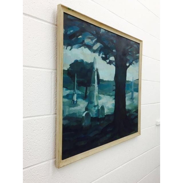 Vintage Original Blue Abstract Landscape in Frame - Image 3 of 7