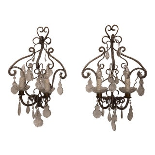 Crystal Beaded Sconces - A Pair