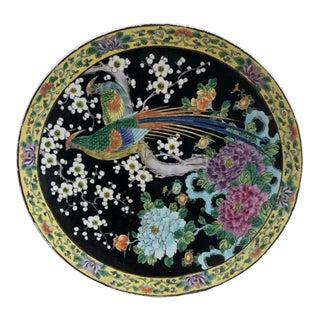 Black Japanese Porcelain Bird Charger Plate For Sale