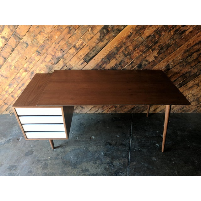 Mid-Century Modern Custom Large Mid Century Style Walnut Desk For Sale - Image 3 of 11