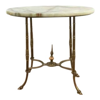 Vintage French Style Opal Toned Marble Top Gilded Metal End Table