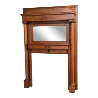 Victorian Antique American Tiger Oak Mantel For Sale