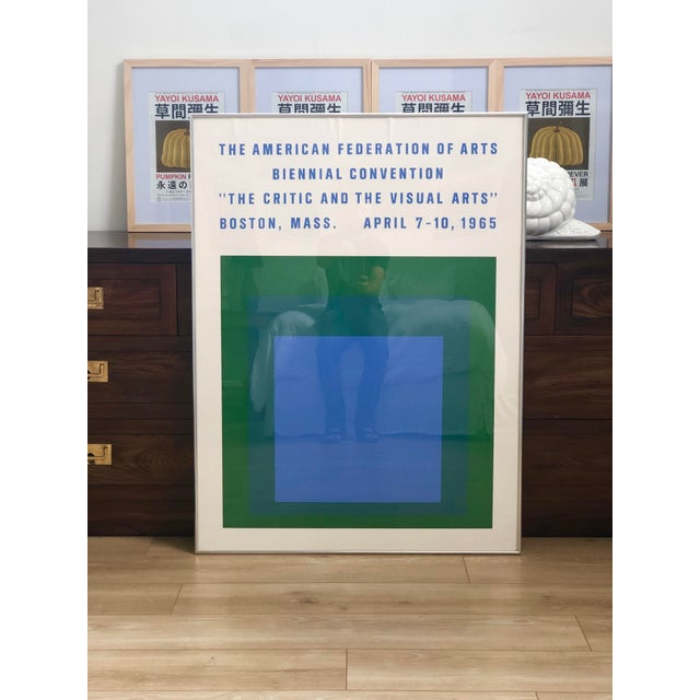 Vintage 1965 Josef Albers poster for the American Federation of the Arts Biennial Convention. The poster depicts his...