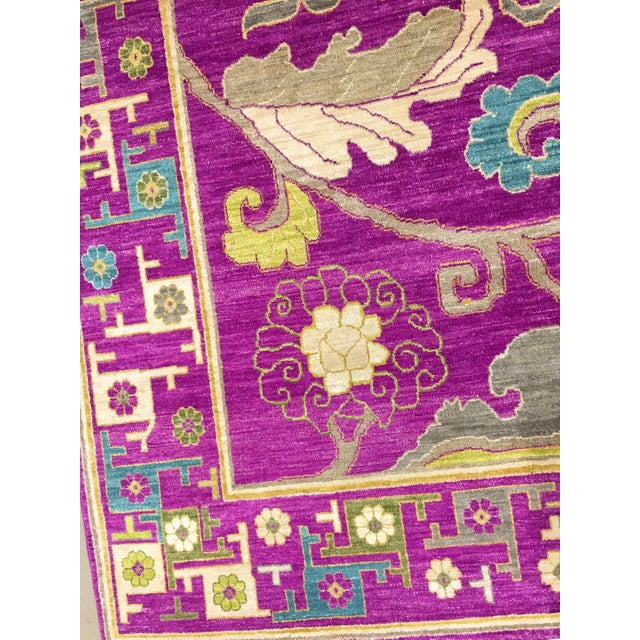 "Exotic Fuschia Chinese Design Rug, 8' X 10'3"" For Sale In Phoenix - Image 6 of 12"