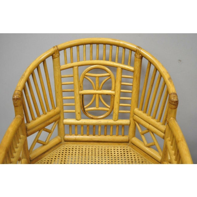 Vintage Brighton Pavilion Style Bamboo & Cane Rattan Arm Chairs - A Pair For Sale - Image 4 of 12