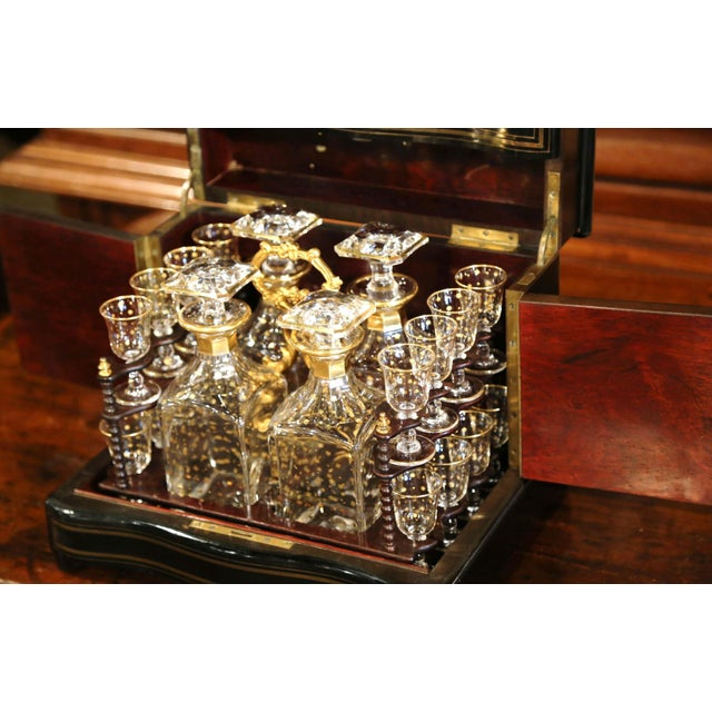 19th Century French Napoleon III Cave a Liqueur With Mother-Of-Pearl Decor For Sale - Image 10 of 13