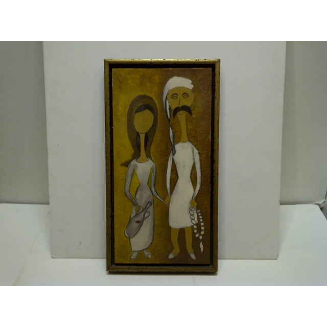 "Paint Original Framed ""Man & Wife"" Painting on Canvas For Sale - Image 7 of 7"