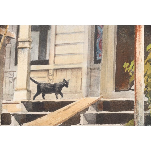 """Vintage """"Victorian Home & Black Cat"""" Watercolor Painting For Sale - Image 4 of 8"""