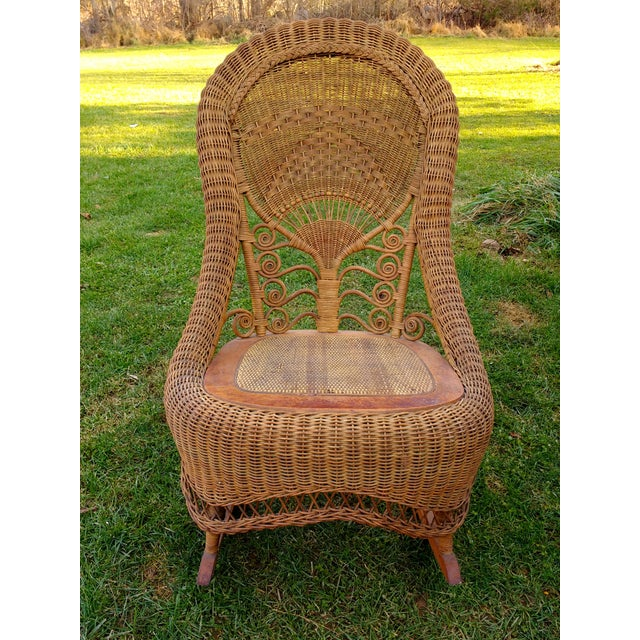 Edwardian Victorian Wicker Rocking Chair Nursing Rocker in Original Condition Excellent Light Color 1800s Japanese Fanback For Sale - Image 3 of 11