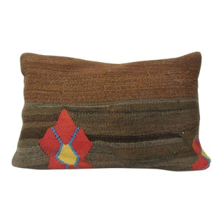 Turkish Brown & Orange Kilim Cushion Cover For Sale