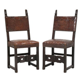 Antique Spanish Tooled Leather Side Chairs - a Pair For Sale