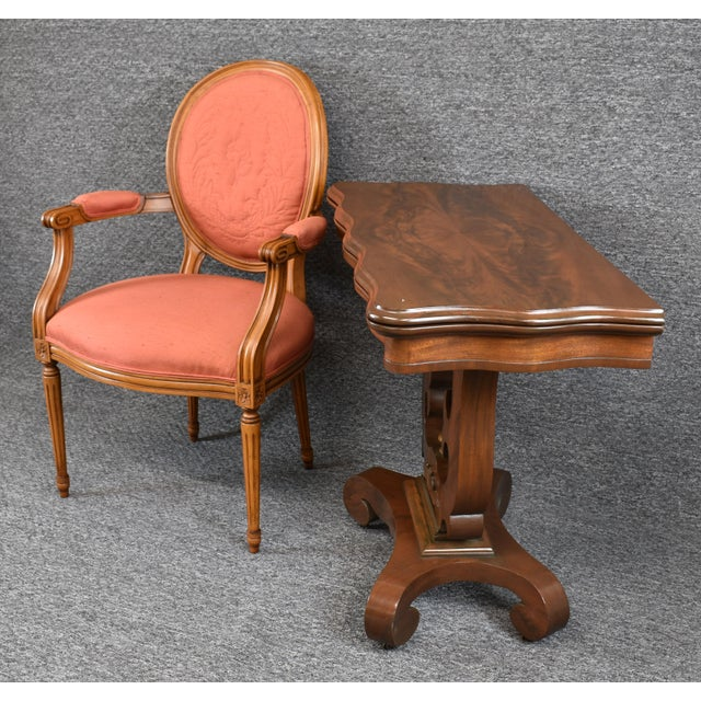 Late 19th Century Antique Empire 1830s Mahogany Lyre Base Game Table For Sale - Image 5 of 11