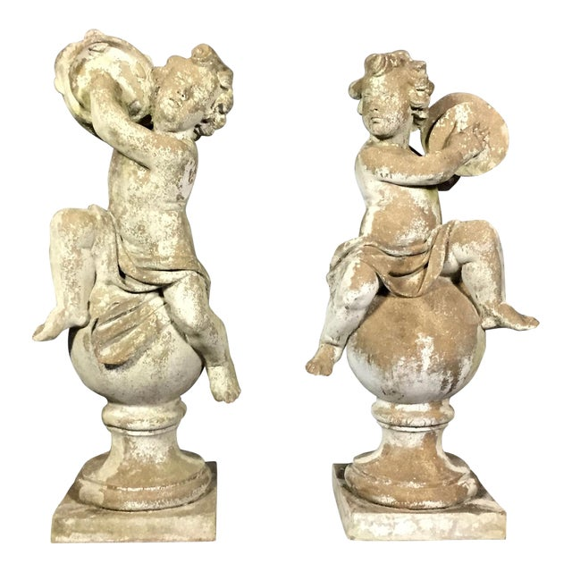Pair of Puti Garden Statues, Composite Material, 20th Century For Sale
