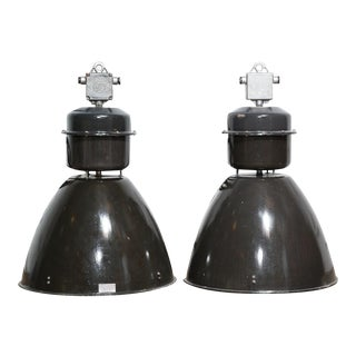 Vintage Czech Industrial Pendant Lights - A Pair