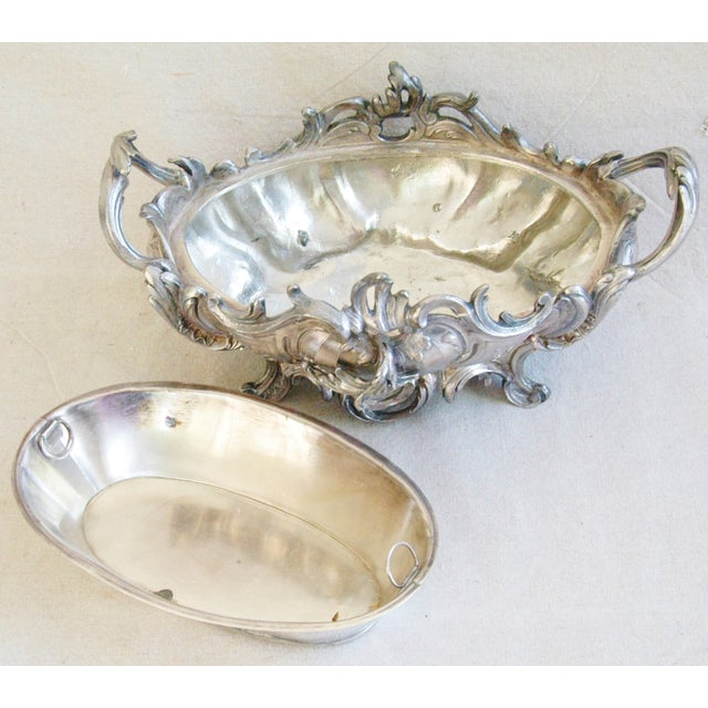 1950s Ornate French Silverplate Jardinière Planter - Image 9 of 11