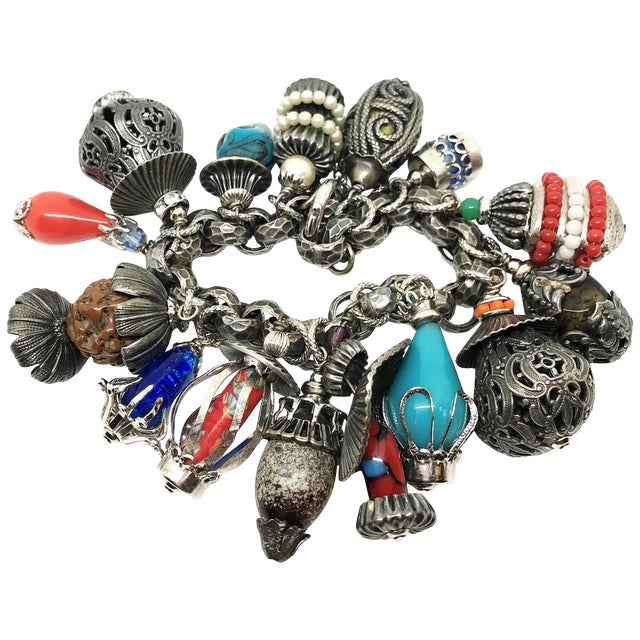 1950's Napier Jeweled Lantern Charm Bracelet For Sale