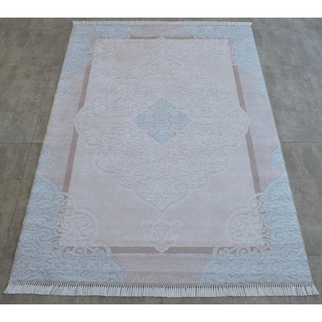 Traditional Oushak Pattern Inspired Area Rug - 5′1″ X 7′7″ For Sale - Image 4 of 11