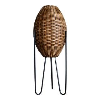 Paul Mayen Mid-Century Rattan & Iron Hairpin Floor Lamp