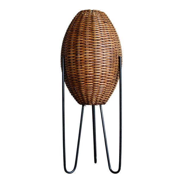 Paul Mayen Mid-Century Rattan & Iron Hairpin Floor Lamp For Sale