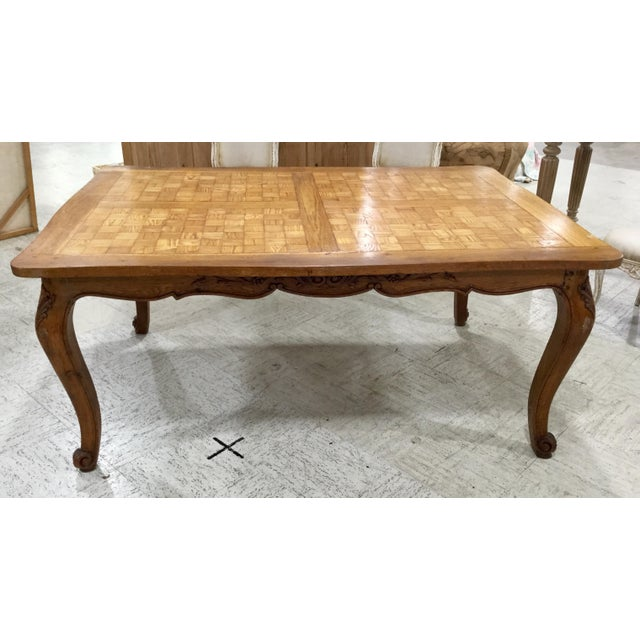 French Parquetry Top Dining TBle For Sale In Tampa - Image 6 of 9